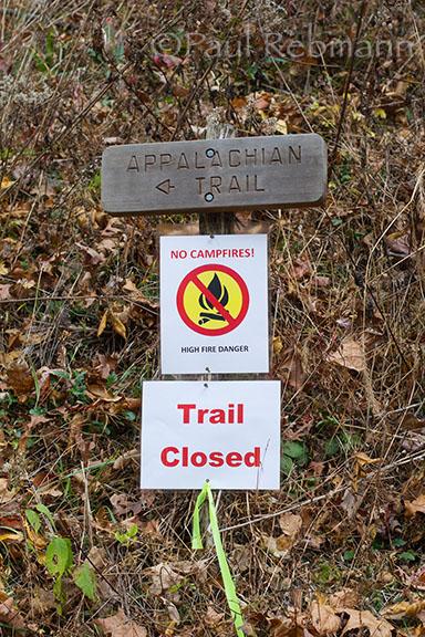 Appalachian Trail closed sign at Wallace Gap